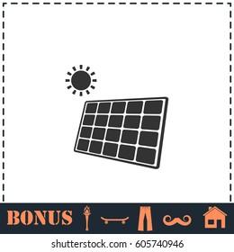 Solar panel icon flat. Simple illustration symbol and bonus pictogram