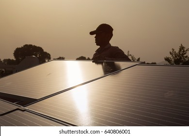 Solar panel installation in Indian village