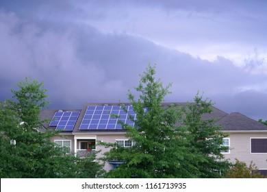solar panel installed on the apartment roof in storm day