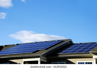 solar panel installed on the roof of apartment building