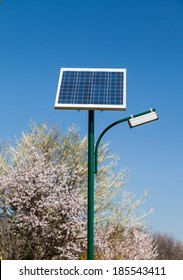 Solar panel located in a park on a clear day of spring