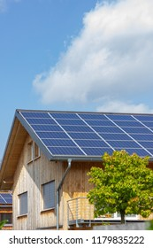 solar panel of modern building facades and details of village in south german bavaria countryside