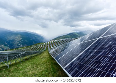 The solar panel at a mountain peak near Tibet, China. Renewable and green energy has become very important in China's energy supply.