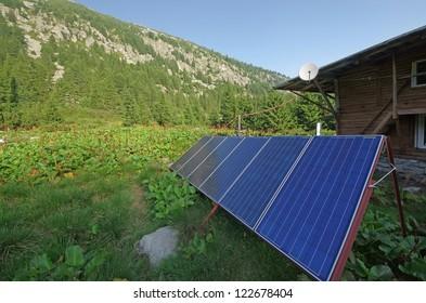 Solar panel at a mountain shelter, Retezat National Park