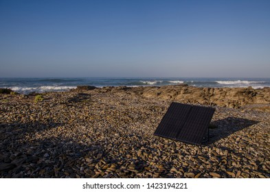 Solar panel on the beach.