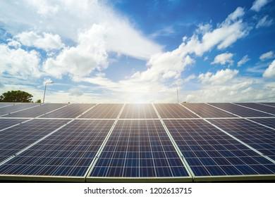Solar panel on blue sky background, Alternative energy concept.