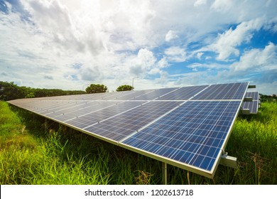Solar panel on blue sky background, Alternative energy concept.