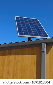 Solar panel on a building or bus stop. Clean energy. Ecology
