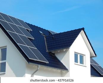 Solar Panel on a dark roof
