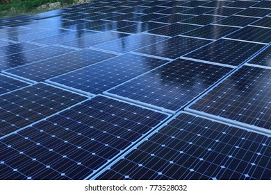 Solar panel on evening time