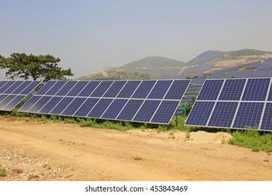 solar panel on the hillside, closeup of photo