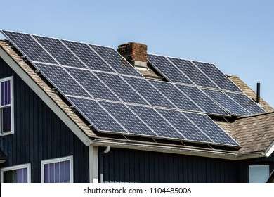Solar Panel on the roof of a home