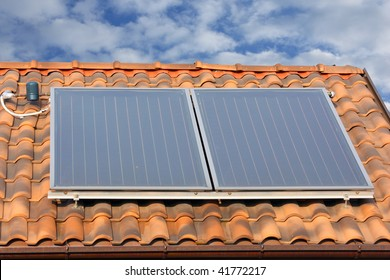 solar panel on a roof. hot water production