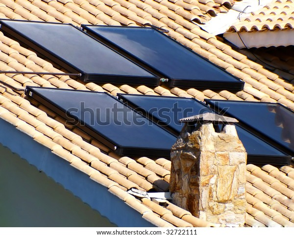 solar panel on the roof for water heating