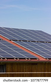 solar panel on rooftop at blue sky sunny springtime day