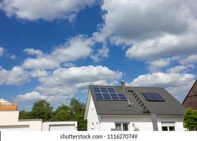 solar panel on rooftop of south german rural village at springtime near city of stuttgart