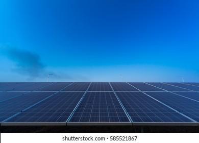 solar panel on sky sunset background