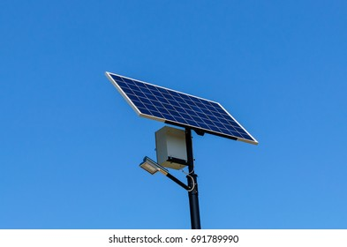 Solar panel on a top of  the pillar