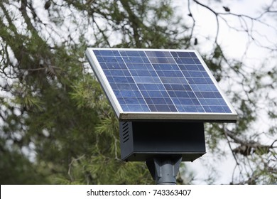 Solar panel in one of the lampposts of La Font Roja in Alcoy
