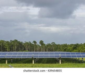 Solar Panel in an open field/Alternative energy/Power from light glistening in a grass field