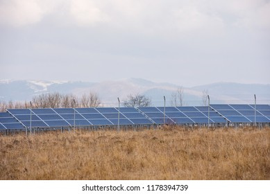 Solar panel park. Large photovoltaic power station. Ecological renewable energy