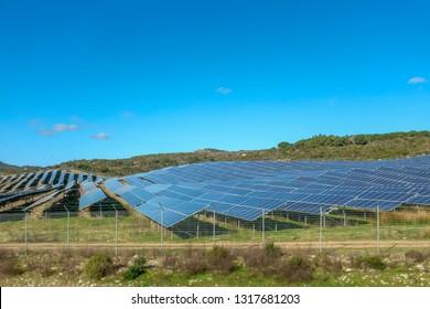 Solar Panel Park. Line europe alternative electricity production