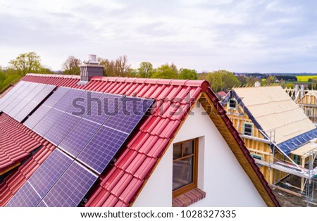 solar panel or photovoltaic panel on a roof