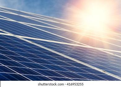 Solar panel,  photovoltaic - selective focus, copy space