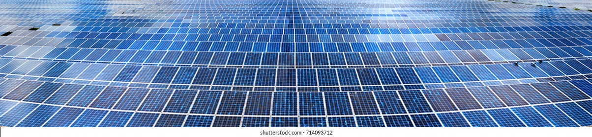 Solar panel, photovoltaic,panorama, reflection,  alternative electricity source - selective focus, copy space, from the sun, heat system, power from nature,