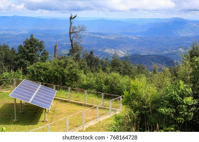 solar panel power.  Located at the mountain. North of Thailand.  reduce global warming.