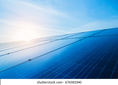 solar panel at solar power plant to innovation of green energy for life