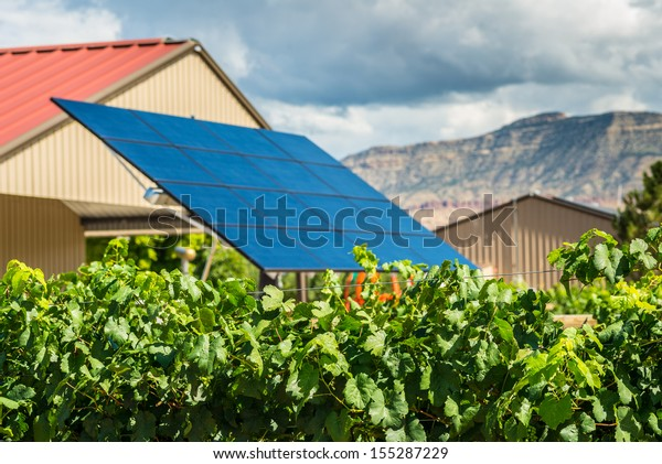 Solar panel providing clean energy to a local farmer growing produce