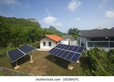 solar panel providing power to a rural area in thailand