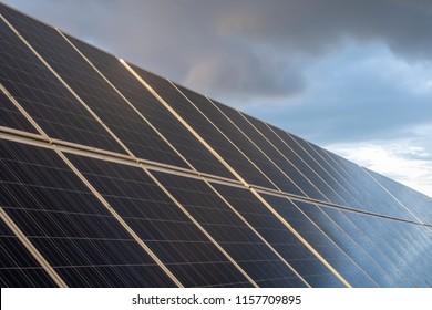 Solar panel with rain drops on it. Solar panel in rain.