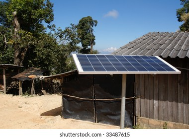 A solar panel in a remote mountain village in Northern Thailand