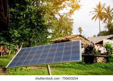 Solar panel at small mountain village for electricity. Solar panel for electricity production from sunlight. Renewable Energy concept.
