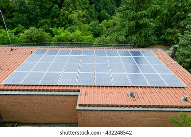 Solar panel system on house roof at Mendrisio on Switzerland