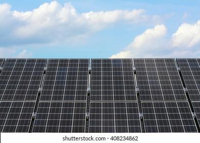 solar panel under cloudy sky