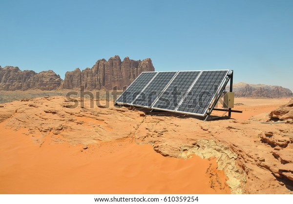Solar Panel Used By Bedouins Desert Stock Photo (Edit Now ...