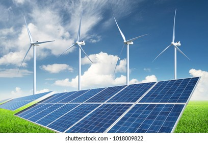 Solar panel  and wind power station. Ecological energy concept and idea