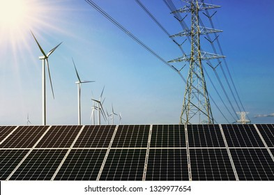 solar panel with wind turebine and electricity high voltage . concept clean energy