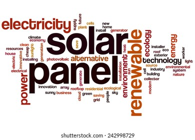 Solar panel word cloud concept with power energy related tags