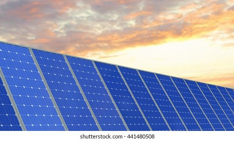 Solar panels - 3d rendering
