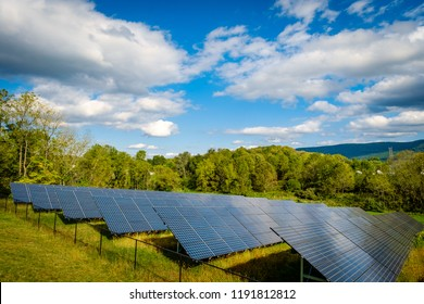 Solar panels absorbing the suns energy on autumn day