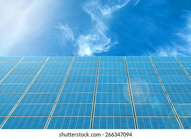 Solar panels against blue sky and sunny day