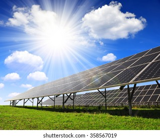 Solar panels against sunny sky. Clean energy.