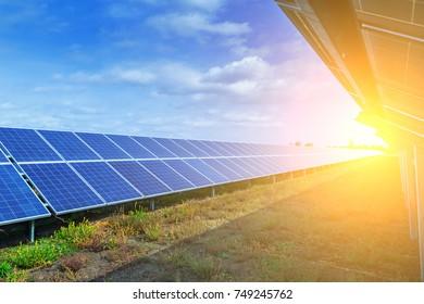 Solar panels, alternative source environmentally friendly energy. In the backlight sunbeam light.