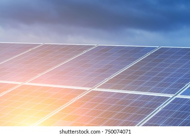 Solar panels, alternative source environmentally friendly energy. In the backlight sunbeam light.