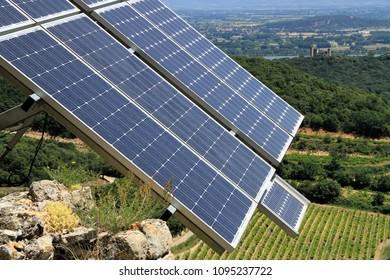 Solar panels with beautiful landscape