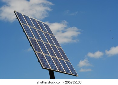 Solar panels with a blue sky
